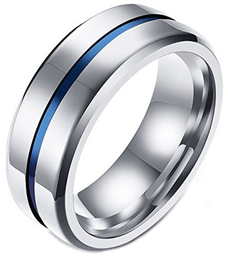 LineAve Men's Stainless Steel Ring 8mm Wedding Band Silver Color and Blue Stripe, Size 9, 1z5037s09 ()