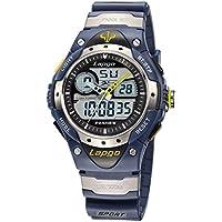 Boys Sports Watch 100M Waterproof Analog Digital Dual Time Unisex Teens Wrist Watches 388AD Blue