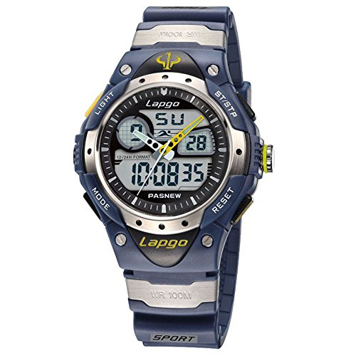 Sports 100m Watch (Boys Sports Watch 100M Waterproof Analog Digital Dual Time Unisex Teens Wrist Watches 388AD Blue)