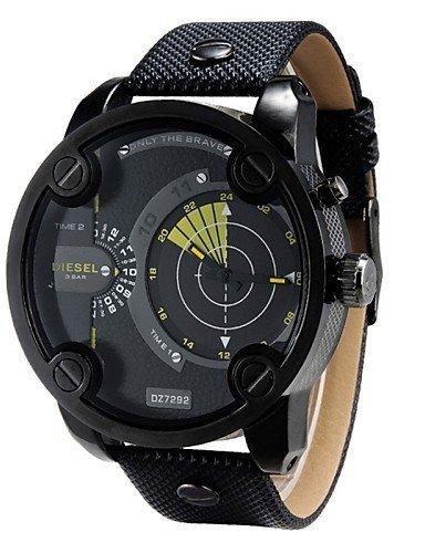 Y&L dz nuevos hombres de cuero genuino relojes forma militar los hombres al aire libre de