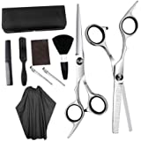 Solustre 10pcs Hair Cutting Scissors Set Thinning Scissor Neck Duster Hair Comb Flat Cut Teeth Cut Professional Barber Salon Home Shear Kit for Men Women Pet Black