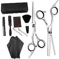 Solustre 10pcs Hair Cutting Scissors Set Thinning Scissor Neck Duster Hair Comb Flat Cut Teeth Cut Professional Barber Salon Home Shear Kit for Men Women Pet Black