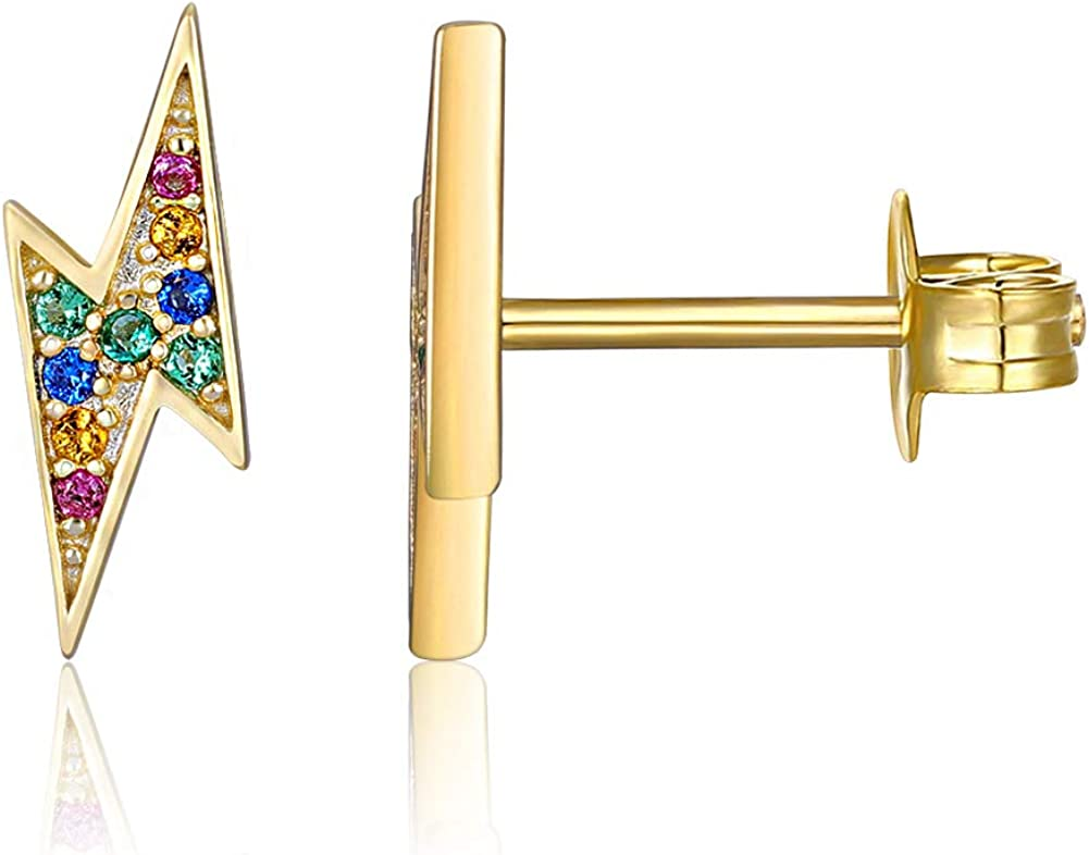 Lightening Bolt Gold Plated Stud Earrings