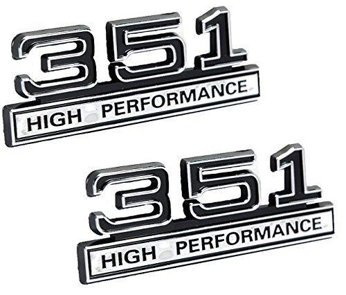 "351 5.8 Liter Engine High Performance Emblems in Chrome & Black - 4"" Long Pair"