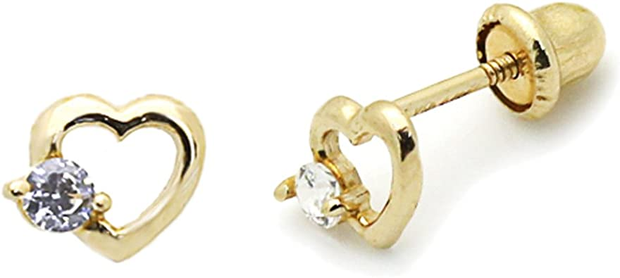 14K Yellow Gold Screwback Stud Earrings Heart