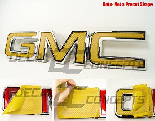 Decal Concepts GMC Sierra/Yukon Yellow Carbon Fiber Front Grill Emblem Overlay Wrap Kit (07-17)