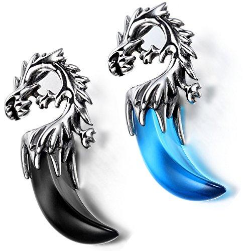 Flongo Men's Biker Tribal 2PCS Stainless Steel Dragon Head Teeth Pendant Necklace, 21 inch Chain -
