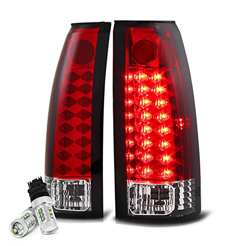 [Cree LED Reverse Bulbs] VIPMOTOZ Premium LED Tail Light Lamp For 1988-1999 Chevy GMC C/K 1500 2500 3500 Pickup - Rosso Red Lens, Driver and Passenger Side