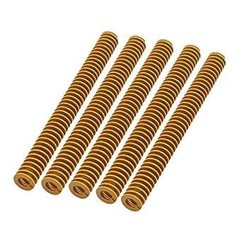 DealMux 5pcs 4x8x80mm liga de aço extra Luz Carga Imprensa compressão helicoidais Mold Die Primavera Amarelo