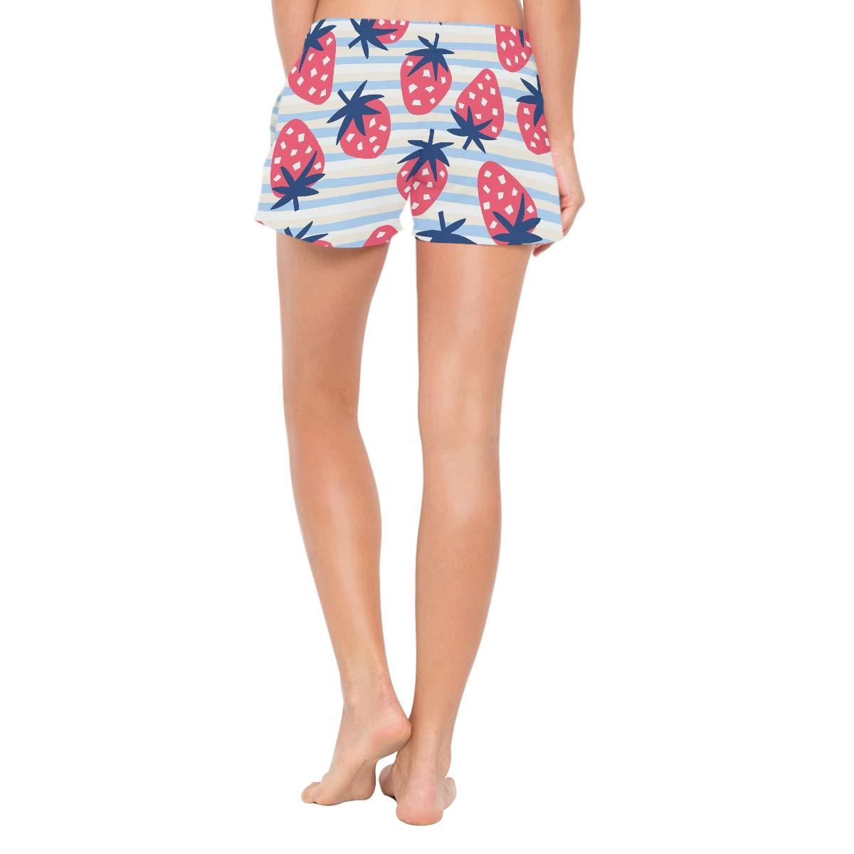 CENHOME Women Swim Trunks Pink Strawberry Blue White Striped Beach Board Shorts