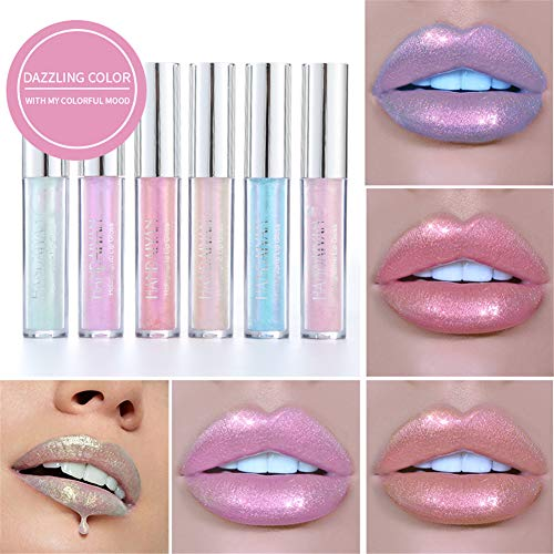 BONNIESTORE 6 Colors Glitter Shimmer Liquid Lip Gloss, Long Lasting Makeup Lipstick Set Moisturizing Dazzling Color Lip Set