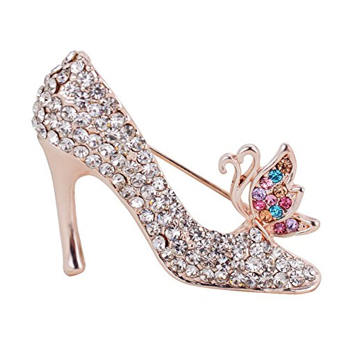 Demarkt High Heels Alloy Rhinestone Brooches for Party Wedding Decor (Multicolor)