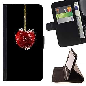 BullDog Case - FOR/LG G2 D800 / - / vishnya yagoda puzyrki /- Monedero de cuero de la PU Llevar cubierta de la caja con el ID Credit Card Slots Flip funda de cuer