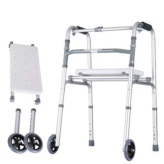 SS Walkers Andador Plegable de Aluminio con 2 Ruedas para Personas ...