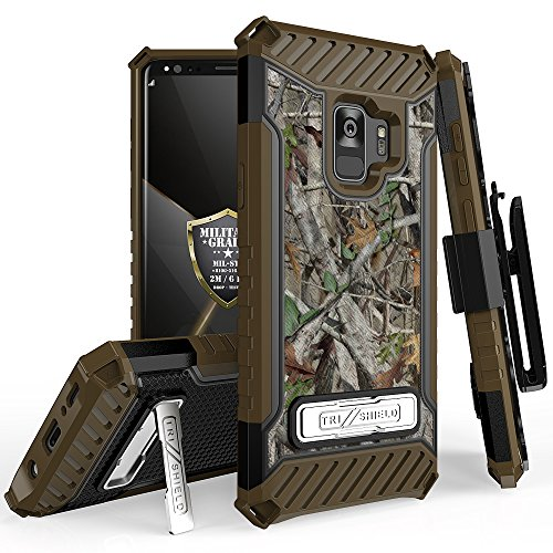 Samsung Galaxy S9 PLUS Tri-Shield Series Rugged Heavy Duty Shock Resistant Case [With Kickstand & Lanyard] for Galaxy S9 PLUS, S9+ (SM-G965) (Leaves Camo)