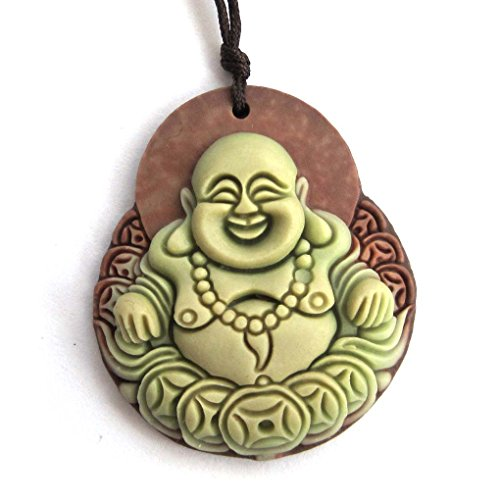 Two Layer Natural Stone Tibetan Buddhist Buddha Amulet Pendant (Fortune Buddha)