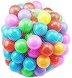 Hishion おもちゃボール カラーボール 7色100個 直径約5.5cm ボールプールおもちゃ 子供のおもちゃ 収納ネットセット (100個)