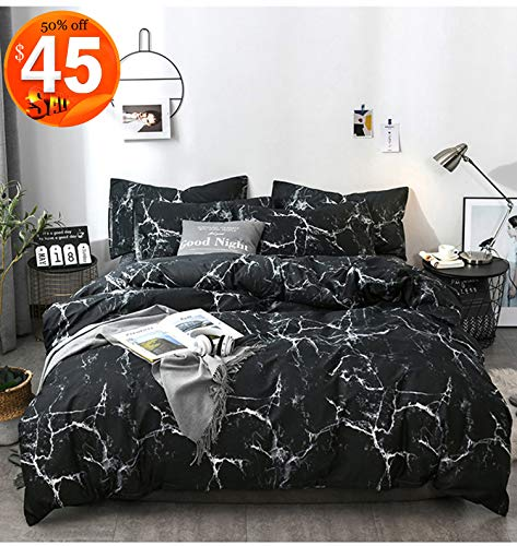 CLOTHKNOW Marble Duvet Covers Twin Cotton Black Marble Bedding Sets Twin Abstract Bedding Duvet Cover Sets with Zipper Closure(3Pcs,Twin Size)