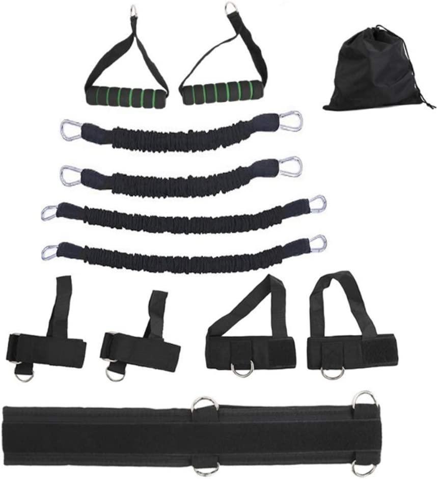 VISCO 11PC Premium Resistance Bands Set, Workout Bands - with Door Anchor, Handles and Ankle Straps - Stackable Up to 105 lbs - for Resistance Training, Physical Therapy, Home Workouts, Yoga, Pilates