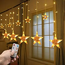 YINUO 12 Stars Lights 138 Led Star String Curtain Lights 8 Modes Linkable Decoration Lights with Remote for Christmas,Home,Bedroom,Parties,UL Listed