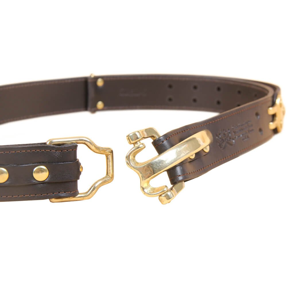 Black Leather Mens Belt Adjustable No. 5 Brass Cinch Buckle Large USA Made Italian Bridle Unique Design 1 3/8 in wide by Col. Littleton (Image #4)