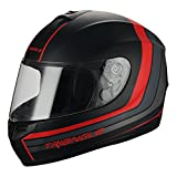 Triangle Full Face Matte Street Bike Motorcycle Helmet [DOT] (Large,Matte Black/Red)