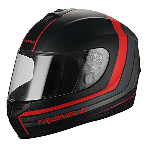 Full Face Matte Black/Red Street Bike Motorcycle Helmet by Triangle [DOT] (X-Large)