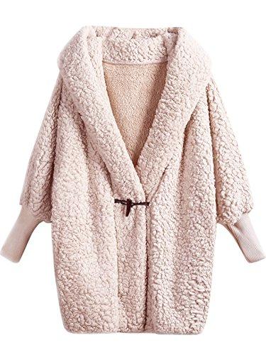 SweatyRocks Women Khaki Hooded Dolman Sleeve Faux Fur Cardigan Coat for Winter Pink #1 One Size (Hooded Pink Cardigan)