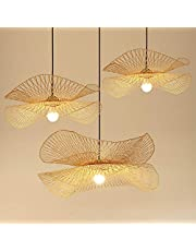 Vintage Bamboe Geweven Hanglamp Land Bamboe Geweven Lamp Handgeweven Hanglamp E27 Natuurlijke Bamboe Eetkamer Woonkamer Gang Decoratieve Verlichting Plafondlamp,55cm