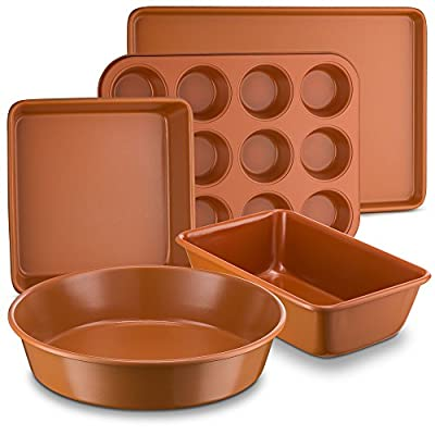 "Ceramic Coated Copper Bakeware 5 Piece Set – 9"" Round, 9""x13"" Rectangle, 9"" Square, Loaf Pan and Muffin Pan - Nonstick, Dishwasher Safe, PTFE/PFOA Free - Red Bakeware by Bovado USA"