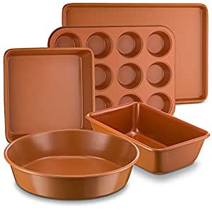 """Ceramic Coated Copper Bakeware 5 Piece Set – 9"""" Round, 9""""x13"""" Rectangle, 9"""" Square, Loaf Pan and Muffin Pan - Nonstick, Dishwasher Safe, PTFE/PFOA Free - Red Bakeware by Bovado USA"""