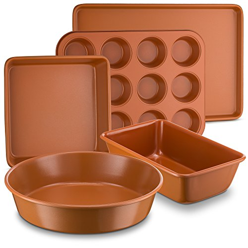 Ceramic Coated Copper Bakeware 5 Piece Set – 9 inch Round, 9 inchx13 inch Rectangle, 9 inch Square, Loaf Pan and Muffin Pan - Nonstick, Dishwasher Safe, PTFE/PFOA Free - Red Bakeware by Bovado USA