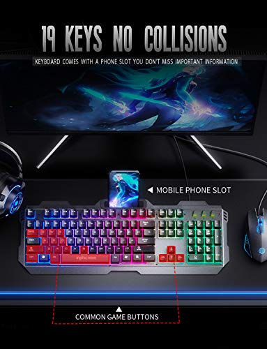 INPHIC V680 Wired Gaming Keyboard with Mouse Combos, 104 Keys LED Rainbow RGB Backlit Keyboards, Durable Metal Structure, Mechanical Feeling, 6 Button RGB Mouse for PC Gamer Computer Laptop 51ljlZnl6wL
