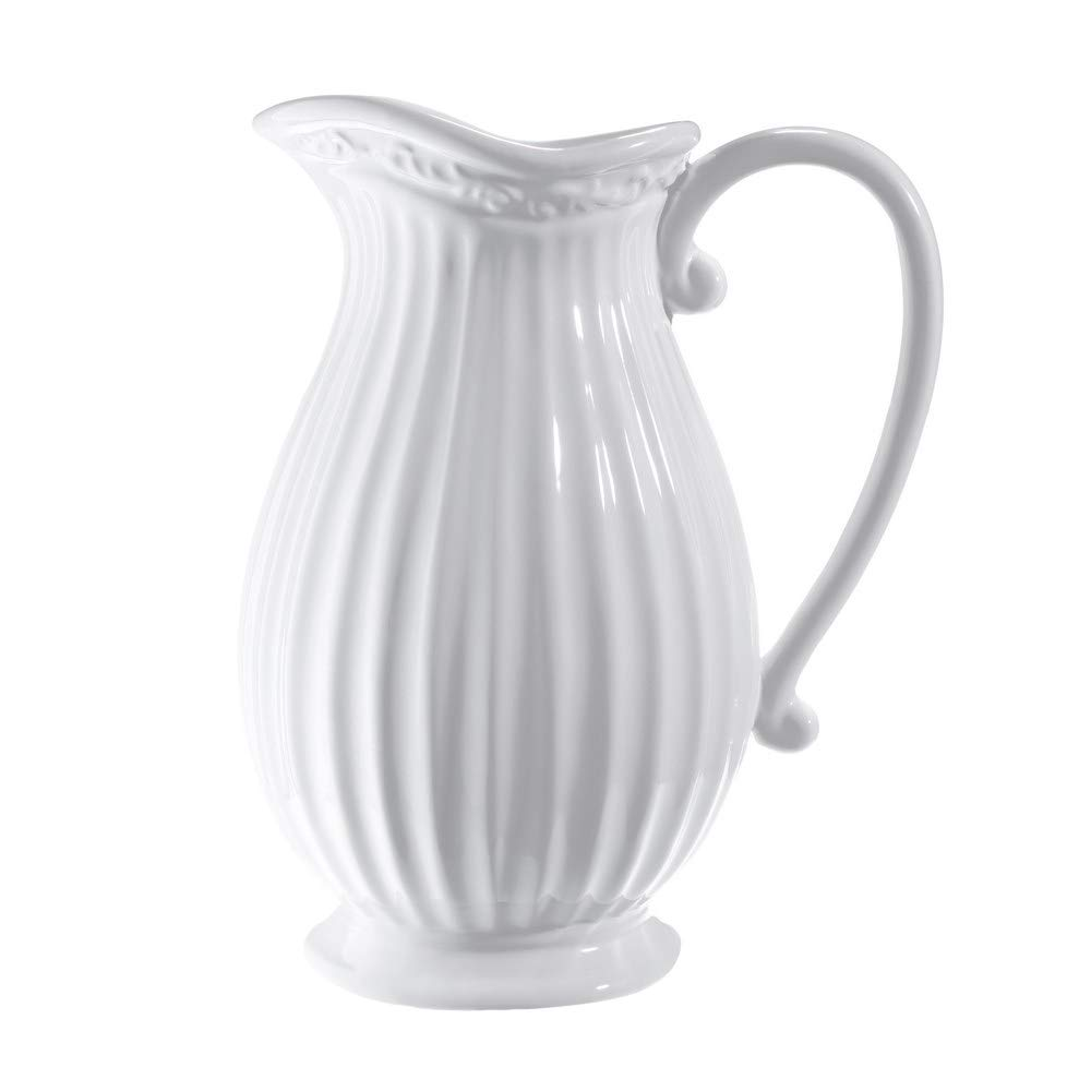 D'vine Dev 10 Inches Tall White Ceramic Pitcher Vase Decorative French Country Pitcher Vase for Flowers, Fresh Bouquets, Floral Arrangement Pitcher, Greenery or Silk Flowers Arrangement