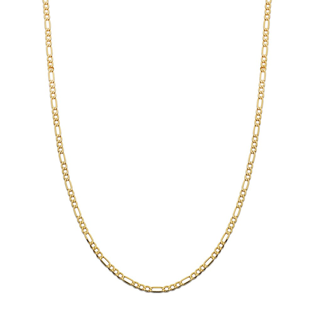 LoveBling 10K Yellow Gold Figaro Chain Necklace, Available in 2mm to 6.5mm, 16'' to 30'' (3.5mm, 24'')