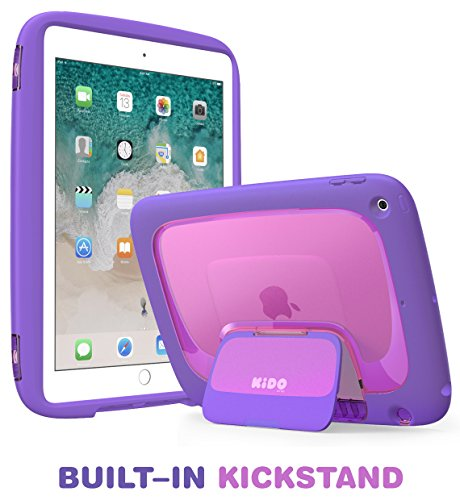 New iPad 9.7 2018/2017 Case for Kids, Mumba iPad 9.7 Inch Protective Case for Apple iPad 5th/6th Generation [KIDO Series] [Kickstand] [Shoulder Strap](Purple)