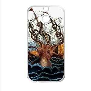 cool kraken octopus pattern,Deep sea monster art 100% plastic Custom Case for HTC One M8 (Laser Technology), Cell HTC M8 Cover