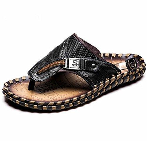 Pinuo 2016 Verano Hombres Sandalias De Cuero De La Pu Para Hombre Cool Zapatillas Masculinas Ocasionales Playa Plana Con Sandalias Negro