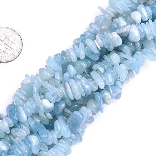 5-8mm Aquamarine Chips Beads Loose Gemstone Beads for Jewelry Making Strand 35 Inch