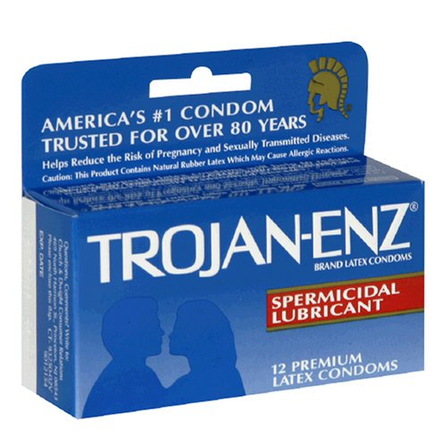 Trojan-Enz Premium Latex Condoms with Spermicidal Lubricant 12 condoms