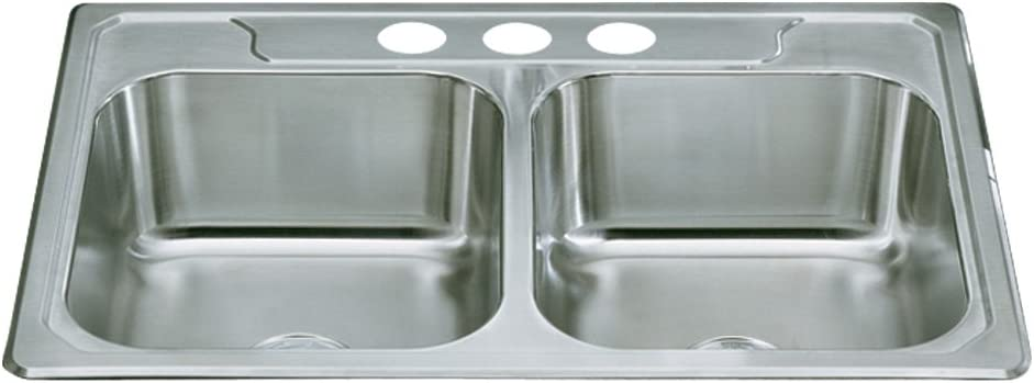 Stainless Steel STERLING 14708-3-NA Middleton 33-inch by 22-inch Top-mount Double Equal Bowl Kitchen Sink