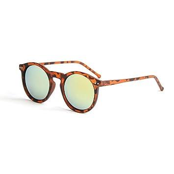 LHWY Femmes hommes lunettes de soleil transparentes circulaire classique ton miroir rétro lunettes de soleil (Or, E)