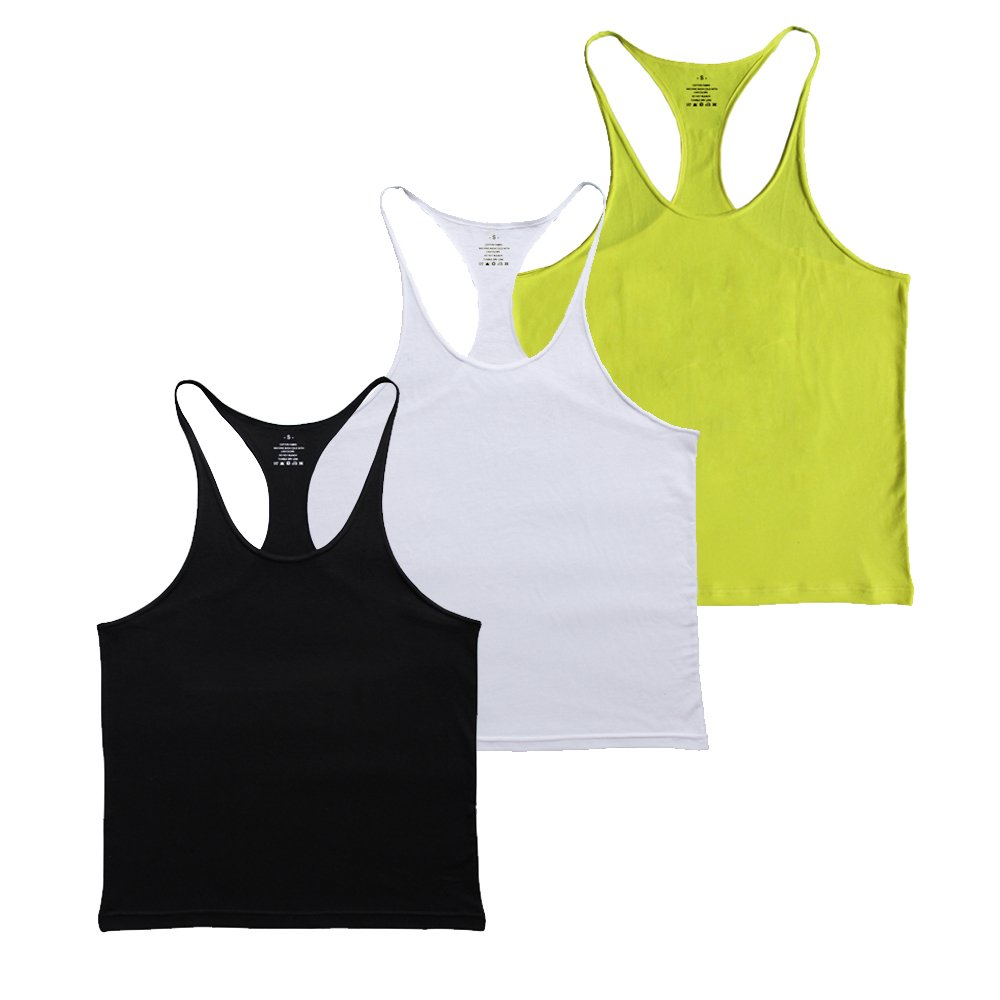 MUSCLE ALIVE Blank Bodybuilding Stringer Tank Tops Men Cotton Black Yellow White Color Size M 3 Packs