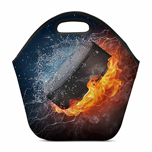 InterestPrint Fire and Water Hockey Puck Cool Sports Lunch B