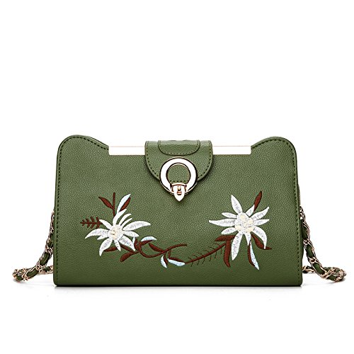 Bolso De Mano De Las Señoras, Coreano De Moda De Bordados, Clip Flor, Boca Oblicuos Hombro, Solo Hombro Wallet,Azul Verde