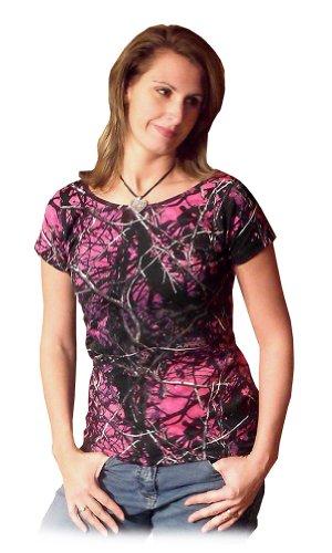 Attitude Womens Fitted T-shirt - Moon Shine Attitdue Attire Muddy Girl Camo Short Sleeve (SM)
