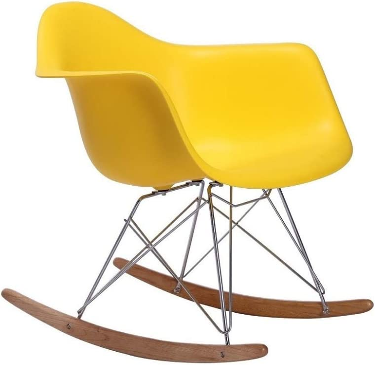 Yellow Dining Chair Take Me Home Furniture Eiffel Style Rocking Chair with Chrome Legs