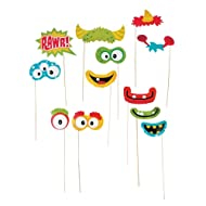 "Fun Monster Photo Stick Props (12 Pack) 1 1/2"" - 8 1/2"" X 2"" - 4 1/4"". Paper."