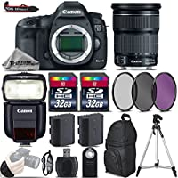 Canon EOS 5D Mark III DSLR Camera + Canon 24-105mm IS STM Lens + Speedlite 430EX III RT + 64GB Storage + Backup Battery + UV-CPL-FLD Filters + Wrist Grip Strap - International Version