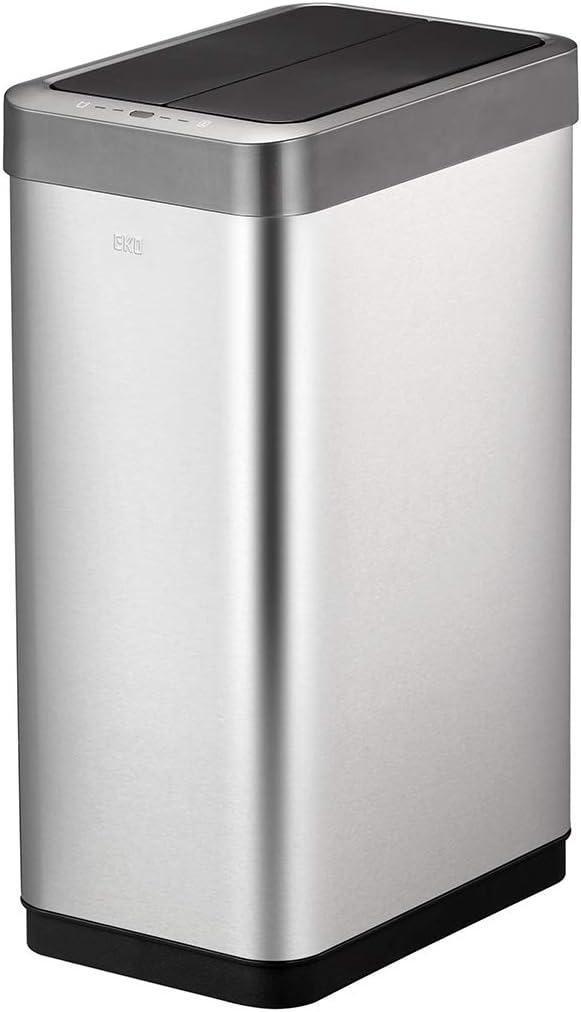 EKO Phantom X 68 Liter / 17.9 Gallon Vertically Aligned Motion Sensor Trash Can, Brushed Stainless Steel Finish